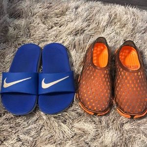 Boys Nike Slides and Water shoes size 12